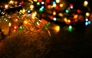christmas bauble and fairy lights image