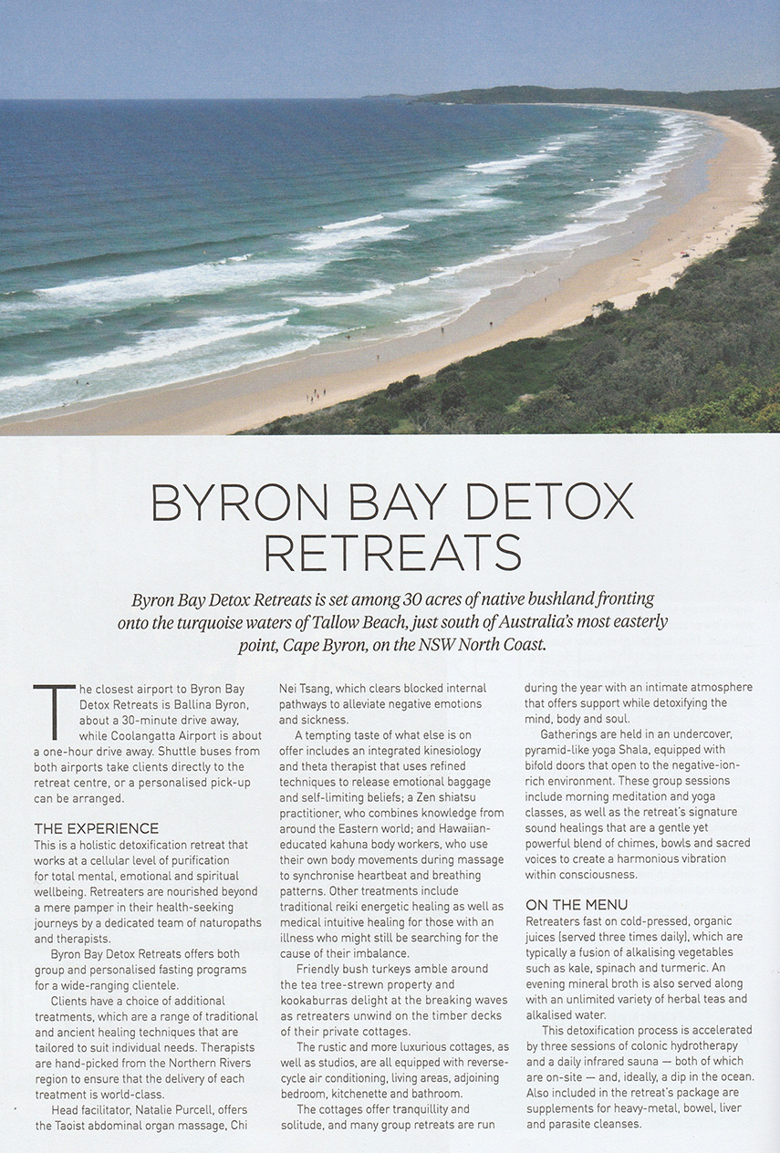 Byron Bay Detox Retreats - WellBeing Magazine feature